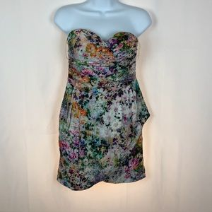 Zara strapless floral dress M